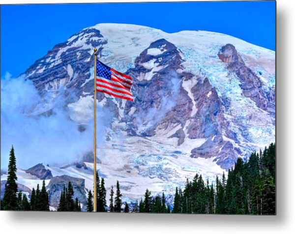 Old Glory At Mt. Rainier Metal Print