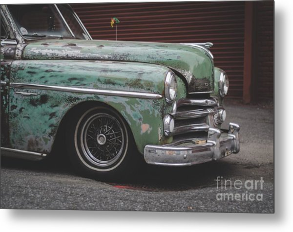 Old Green Car Cuba Metal Print