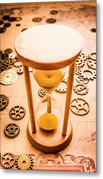 Old Hourglass Near Clock Gears On Old Map Metal Print