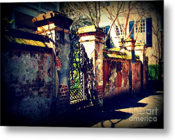 Old Iron Gate In Charleston Sc Metal Print