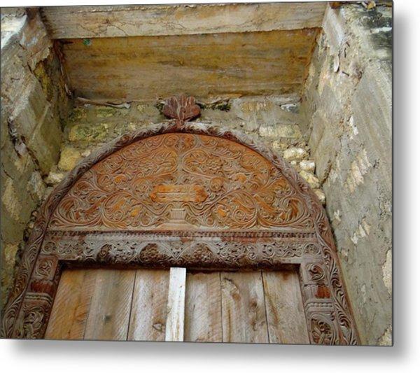 Old Lamu Town - Carved Old Door Metal Print
