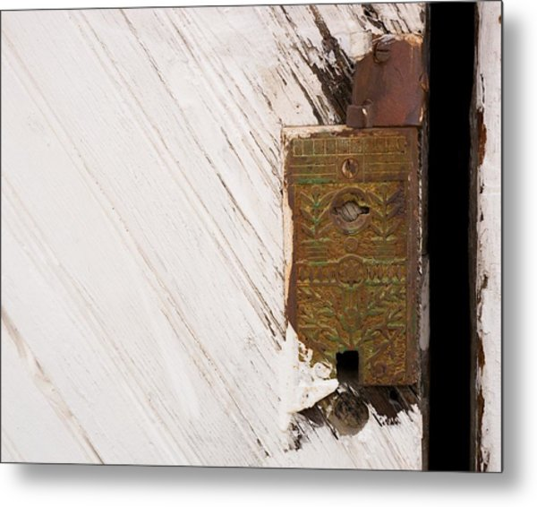 Old Lock On Garage Door Metal Print