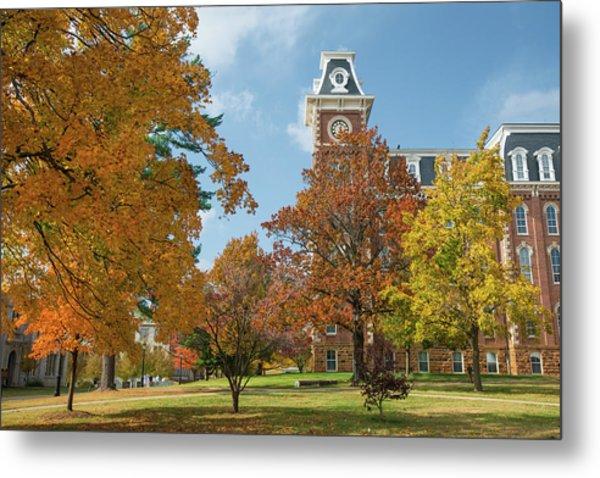 Old Main At The University Of Arkansas During Fall Metal Print