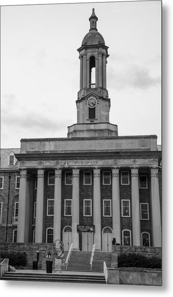 Old Main Penn State Black And White Metal Print