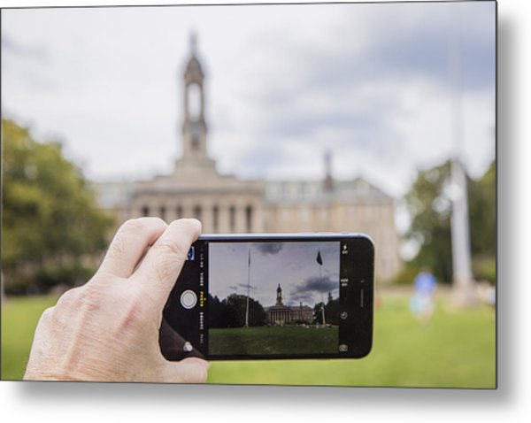 Old Main Through Iphone  Metal Print