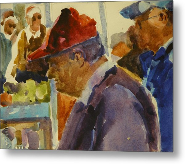 Old Man At The Market Metal Print by Walt Maes