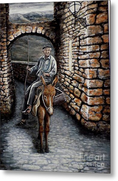 Old Man On A Donkey Metal Print