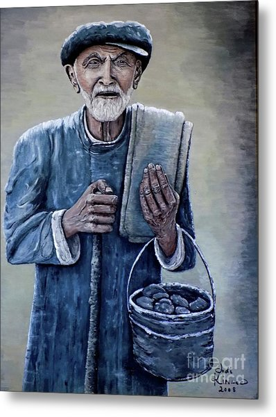 Old Man With His Stones Metal Print