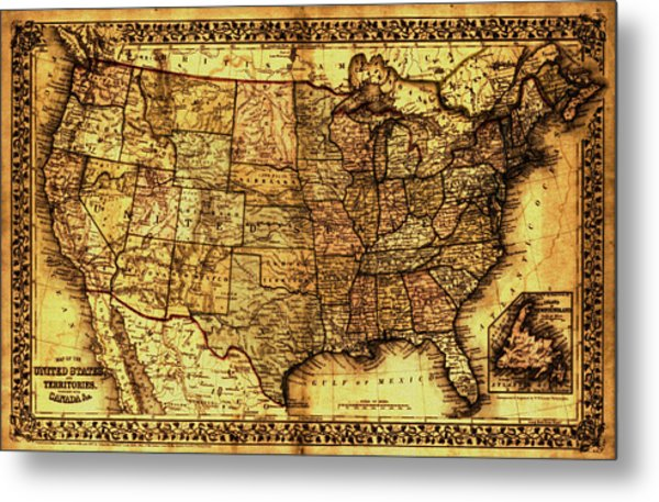 Old Map United States Metal Print