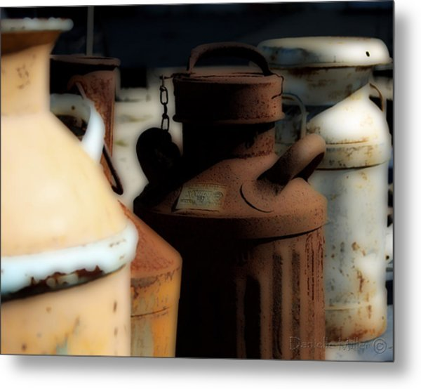 Old Milk Cans Metal Print by Danielle Miller