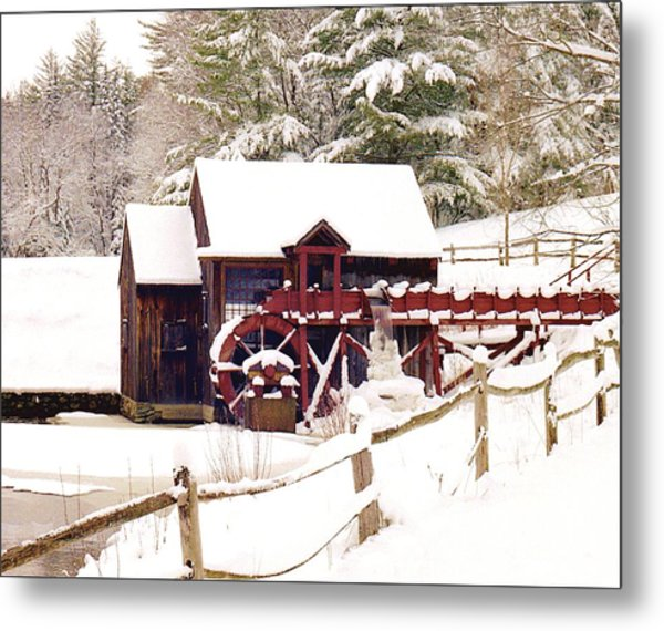 Old Mill In Winter Metal Print