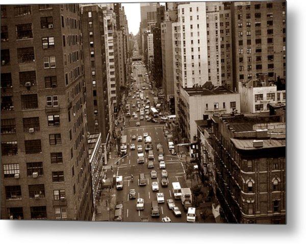 Old New York Photo - 10th Avenue Traffic Metal Print