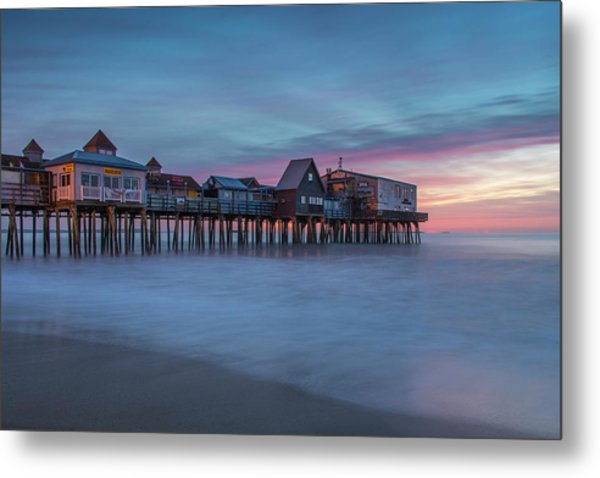 Old Orcharch Beach Pier Sunrise Metal Print