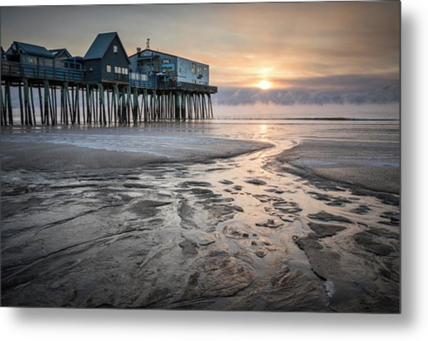 Old Orchard Beach Sea Smoke Sunrise Metal Print