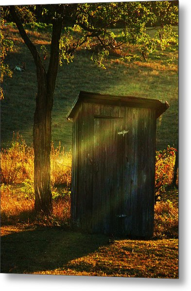 Old Outhouse At Sunset Metal Print