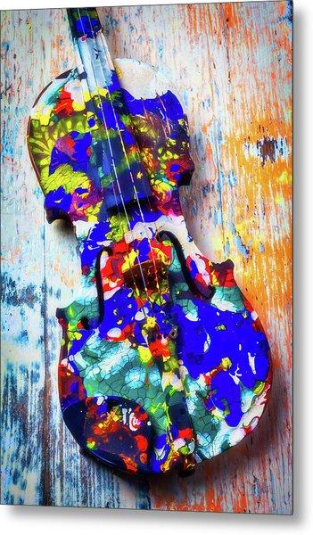 Old Painted Violin Metal Print