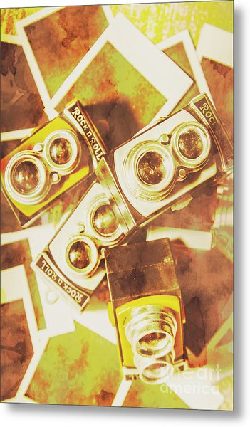 Old Photo Cameras Metal Print