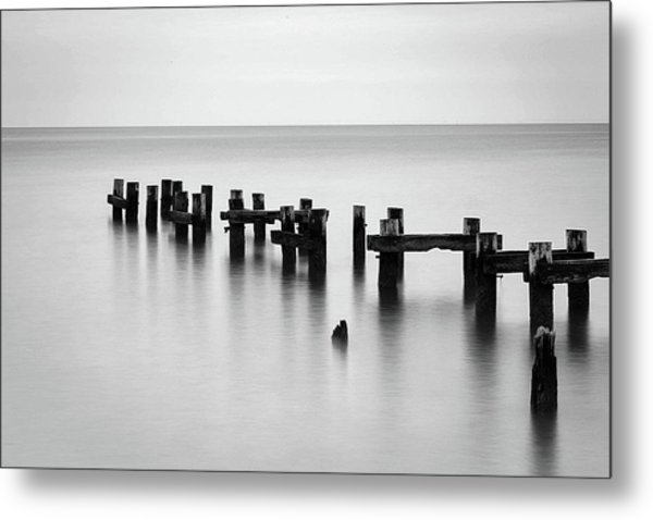 Old Pilings Black And White Metal Print
