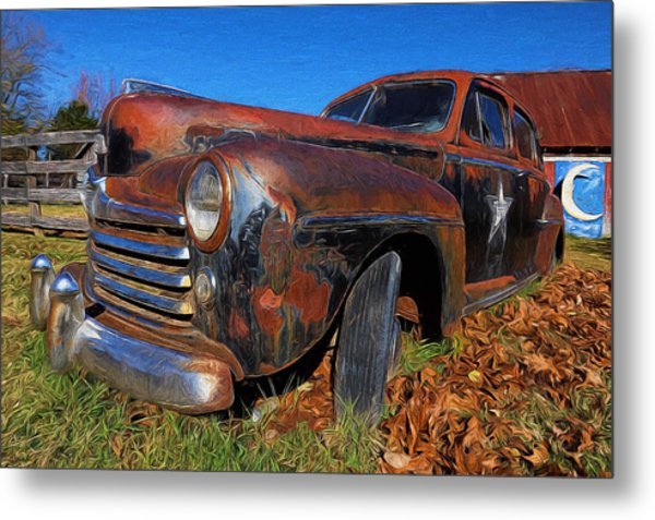 Old Police Car Metal Print