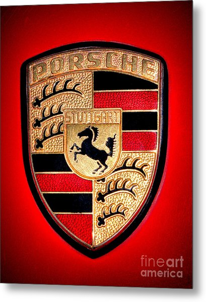 Old Porsche Badge Metal Print