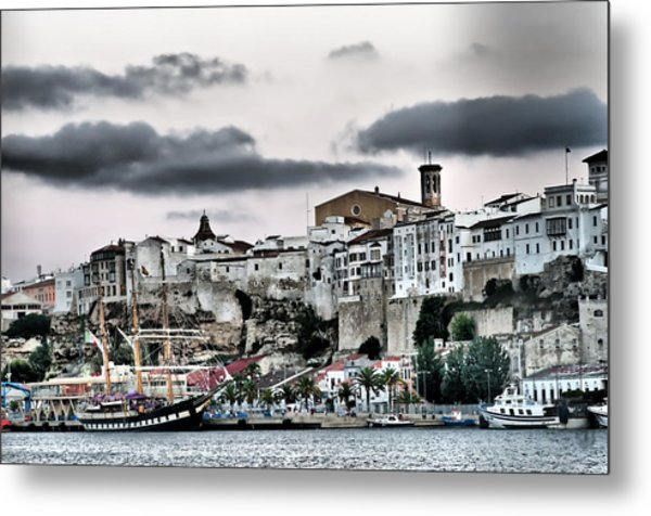 Old Port Mahon And Italian Sail Training Vessel Palinuro Hdr Metal Print