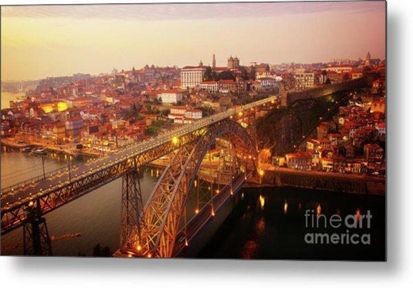 old Porto at  Pink Sunset, Portugal Metal Print