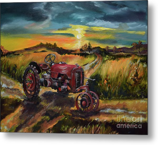 Old Red At Sunset - Tractor Metal Print