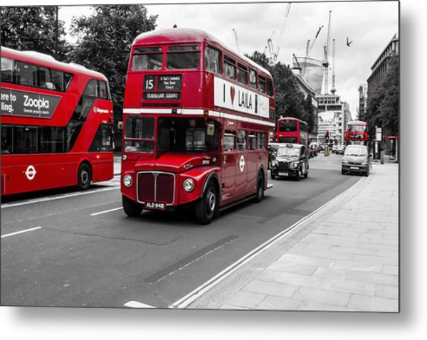 Old Red Bus Bw Metal Print