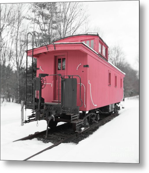 Metal Print featuring the photograph Old Red Caboose Square by Edward Fielding