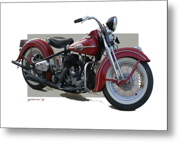 Old Red Harley Davidson Metal Print