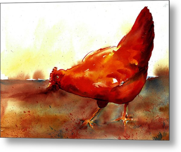 Picking With The Chickens Metal Print