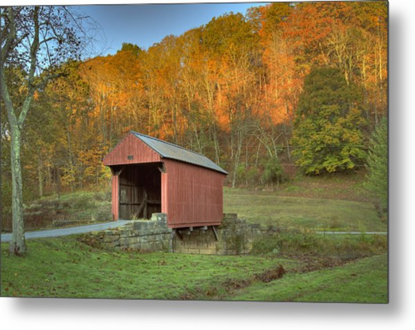 Old Red Or Walkersville Covered Bridge Metal Print