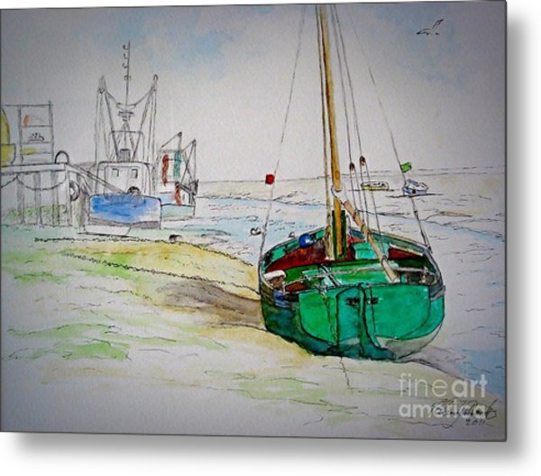 Old River Thames Fishing Boat Metal Print