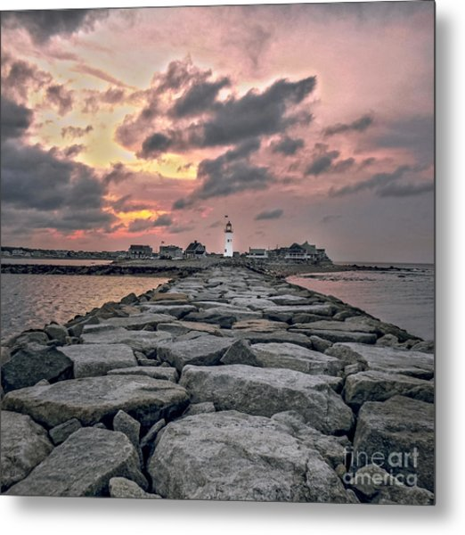 Old Scituate Light At The End Of The Jetty Metal Print