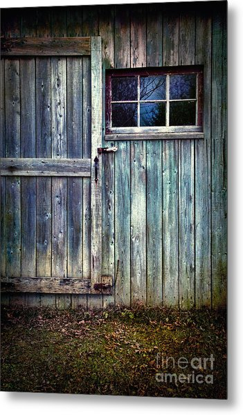 Old Shed Door With Spooky Shadow In Window Metal Print