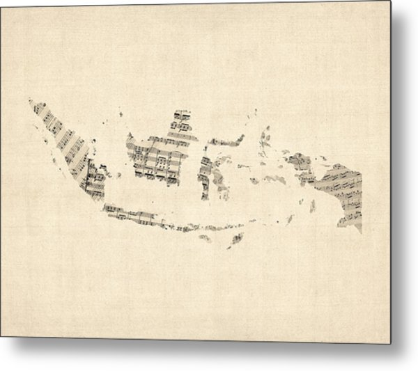 Old Sheet Music Map Of Indonesia Map Metal Print