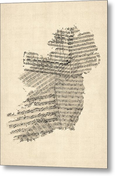 Old Sheet Music Map Of Ireland Map Metal Print