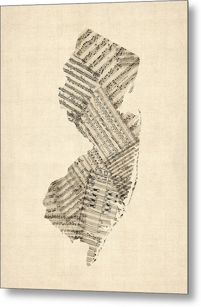 Old Sheet Music Map Of New Jersey Metal Print