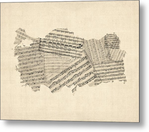 Old Sheet Music Map Of Turkey Map Metal Print