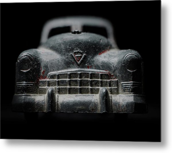 Old Silver Cadillac Toy Car With Specks Of Red Paint Metal Print