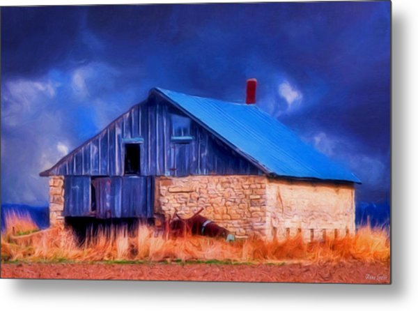 Old Stone Barn Blue Metal Print