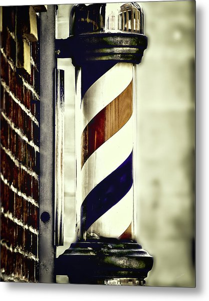Old Time Barber Pole Metal Print
