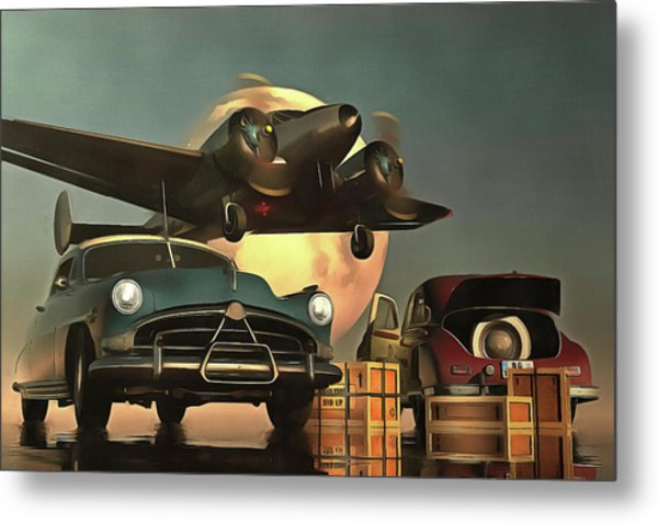 Old-timers With Airplane Metal Print
