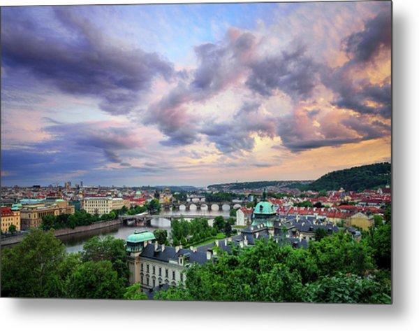 Old Town And Charles Bridge, Prague, Czech Republic Metal Print
