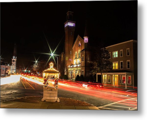 Old Town Hall Light Trails Metal Print