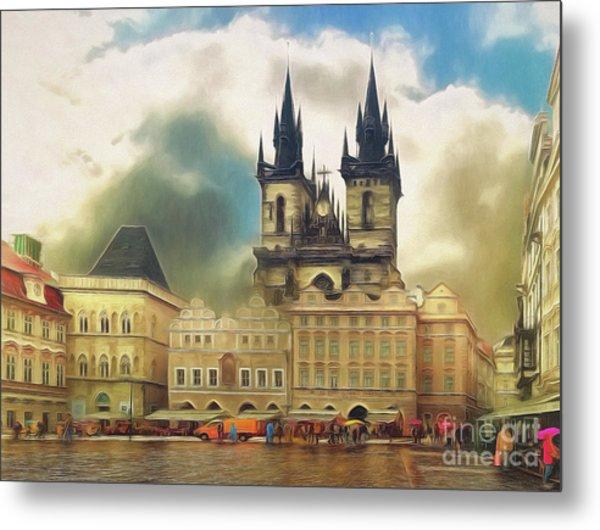 Old Town Square Prague In The Rain Metal Print