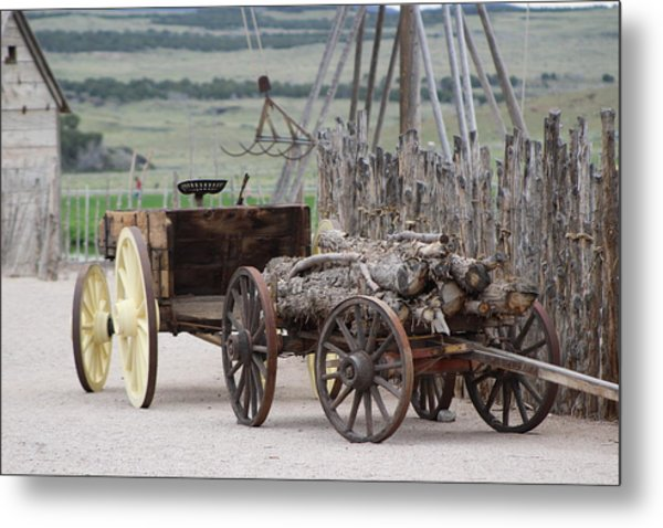Old Tractor And Wagon In Foreground Cove Creek Fort Photography By Colleen Metal Print