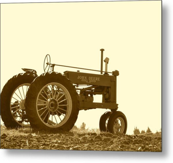 Old Tractor IIi In Sepia Metal Print