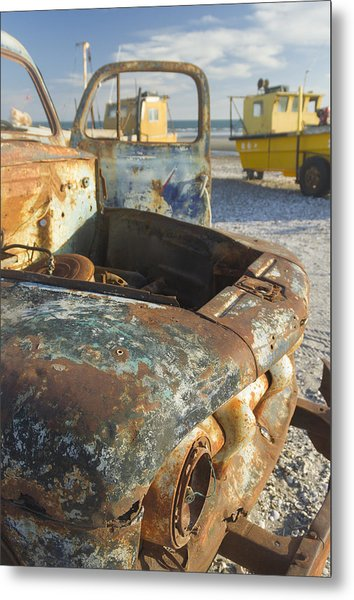 Old Truck In The Beach Metal Print