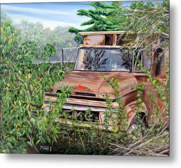 Old Truck Rusting Metal Print